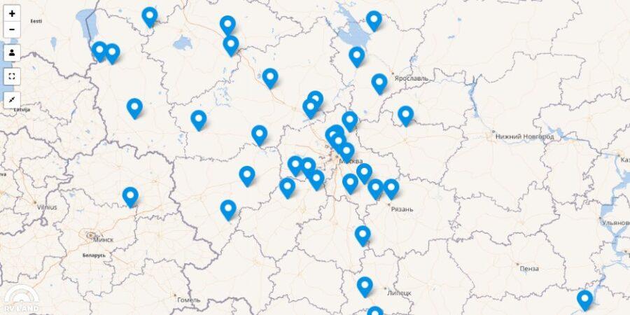 Карта России с кемпингами для автодомов
