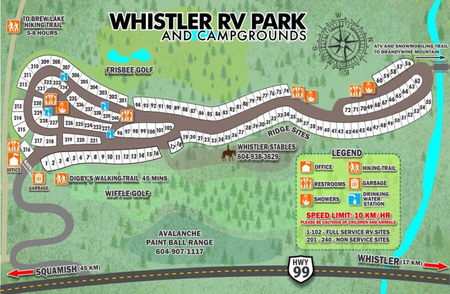 Карта кемпинга Whistler RV Park